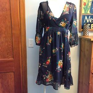 ASOS maternity sheer floral 🌼 2 pc ruffled dress